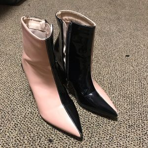 Selling pink and black colorblock booties size 38